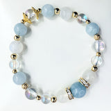 Angel Aura Quartz, Moonstone, Aqua Quartz, Aquamarine, Gold Hardware
