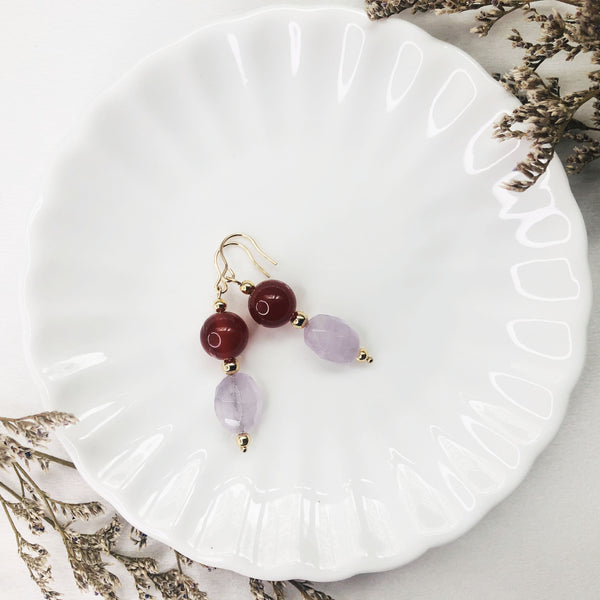 Lavender Amethyst, Red Agate, Gold Hardware