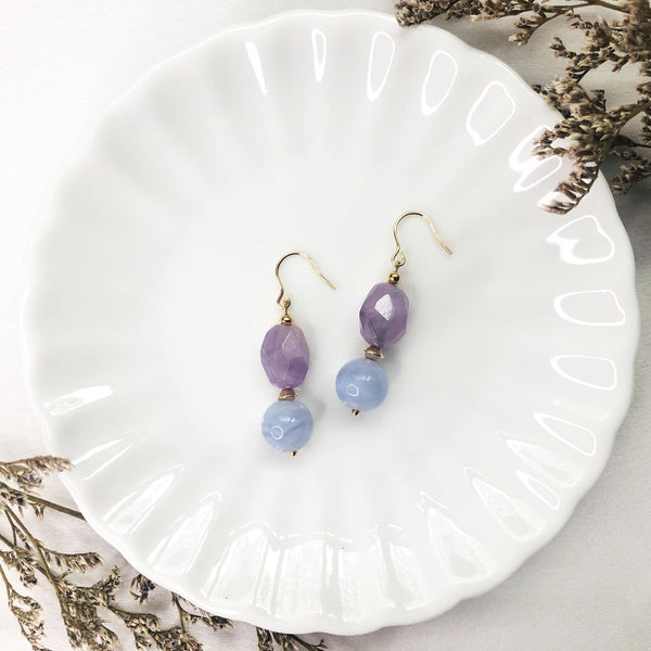 Blue Lace Agate, Lavender Amethyst, Gold Hardware