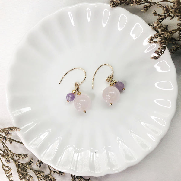 Lavender Amethyst, Rose Quartz, Gold Hardware