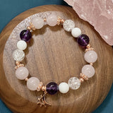 Amethyst, Mother of Pearl, Popcorn Quartz, Rose Quartz, Rose Gold Hardware