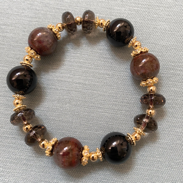Auralite 23, Black Tourmaline, Smoky Quartz, Gold Hardware