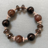 Auralite 23, Black Tourmaline, Smoky Quartz, Silver Hardware