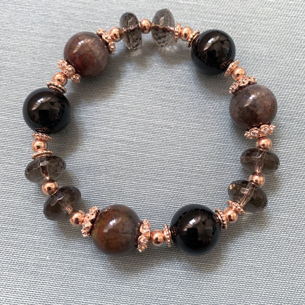 Auralite 23, Black Tourmaline, Smoky Quartz, Rose-Gold Hardware