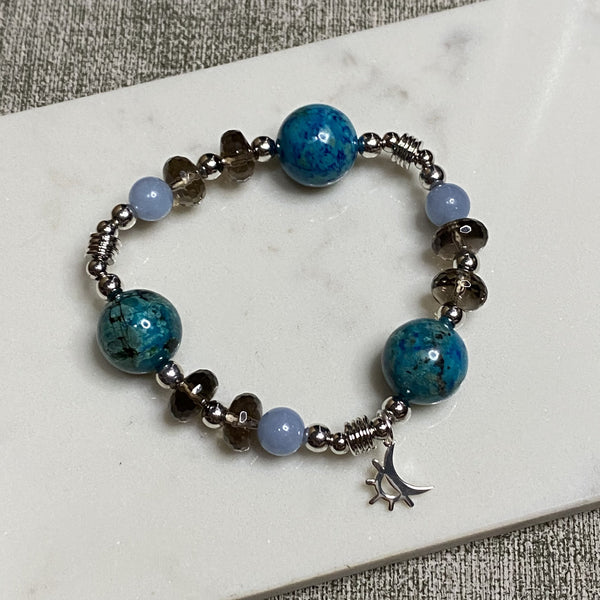 Angelite, Chrysocolla, Smoky Quartz, Silver Hardware