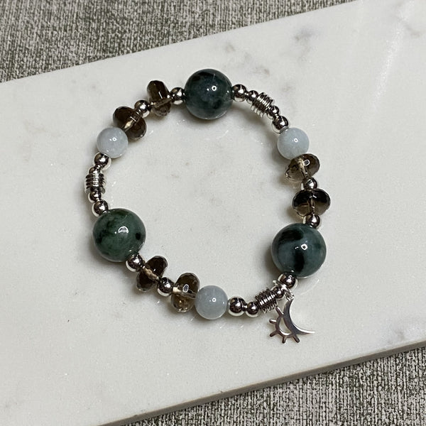 Jade, Smoky Quartz, Silver Hardware