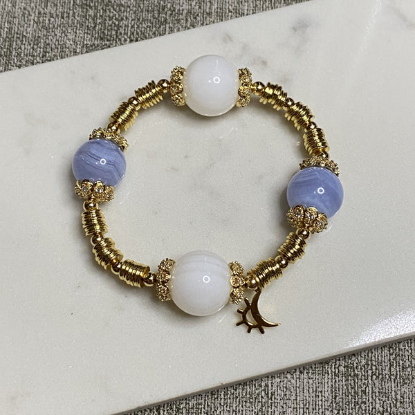 Tridacna, Blue Lace Agate, Gold Hardware