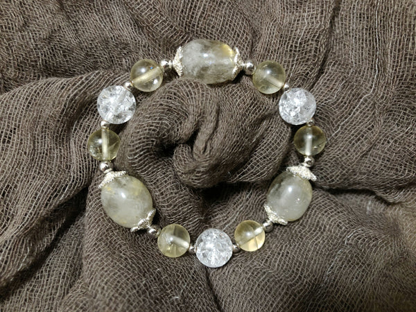 Golden Rutilated Quartz, Citrine, Popcorn Quartz, Silver Hardware