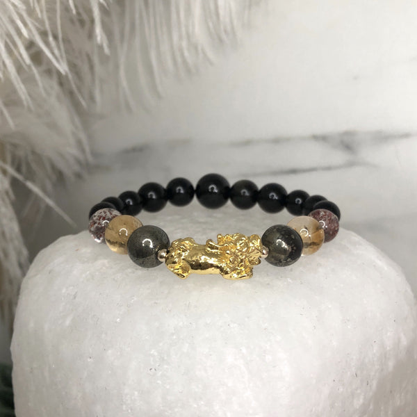 Tourmaline, Pyrite, Citrine, Super 7, Golden Onyx, Black Onyx, Gold Hardware