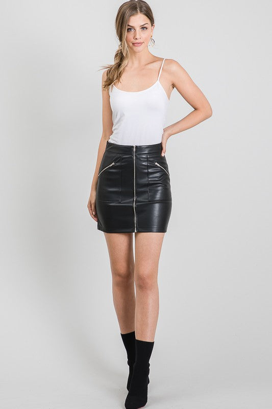 Kristina Leather Skirt - Haute & Honey