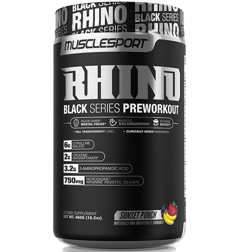 MuscleSport Rhino Black Pre workout. 25 Serves.