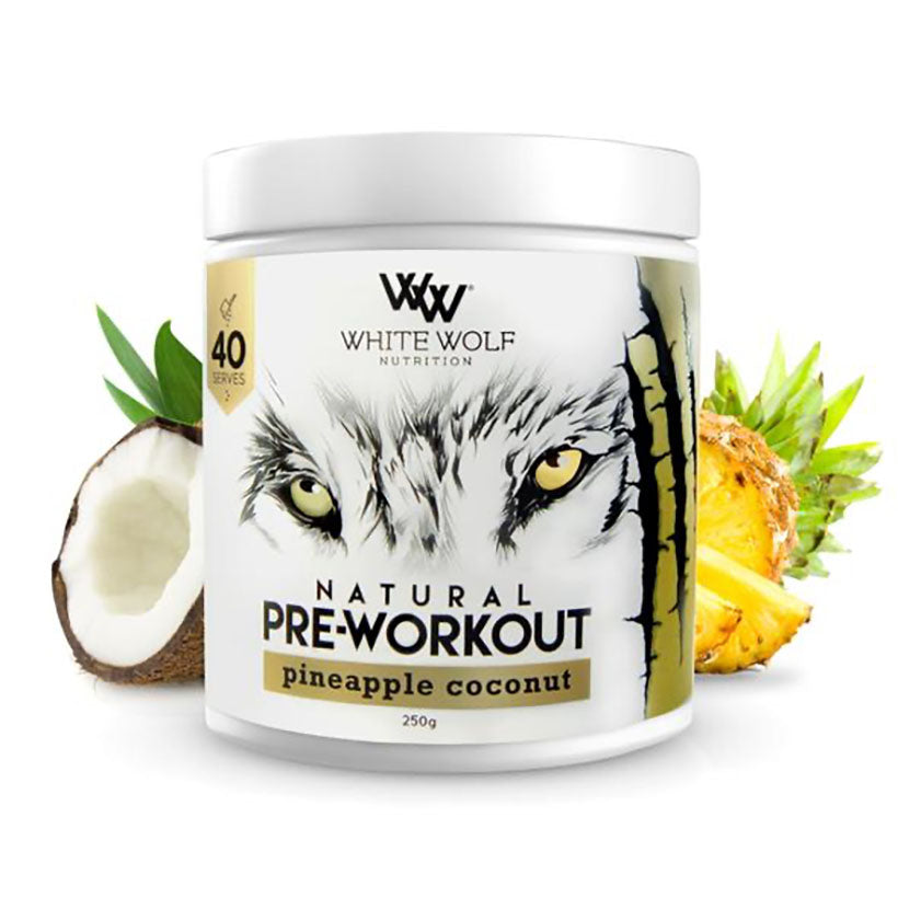 White Wolf Natural Pre-Workout 250g 40 serve Pineapple Coconut