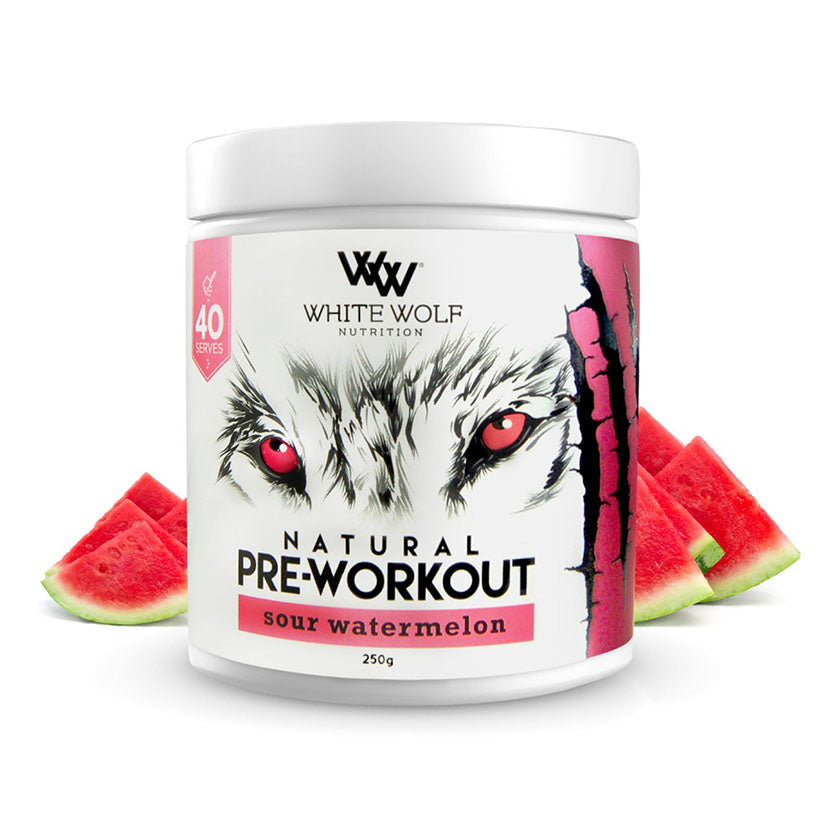 White Wolf Natural Pre-Workout 250g 40 serve Sour Watermelon