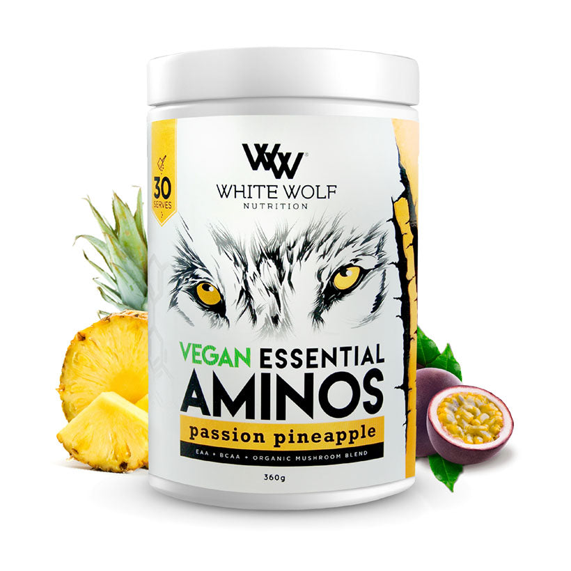 White Wolf Vegan Essential Aminos 360g 30 serve Passion Pineapple