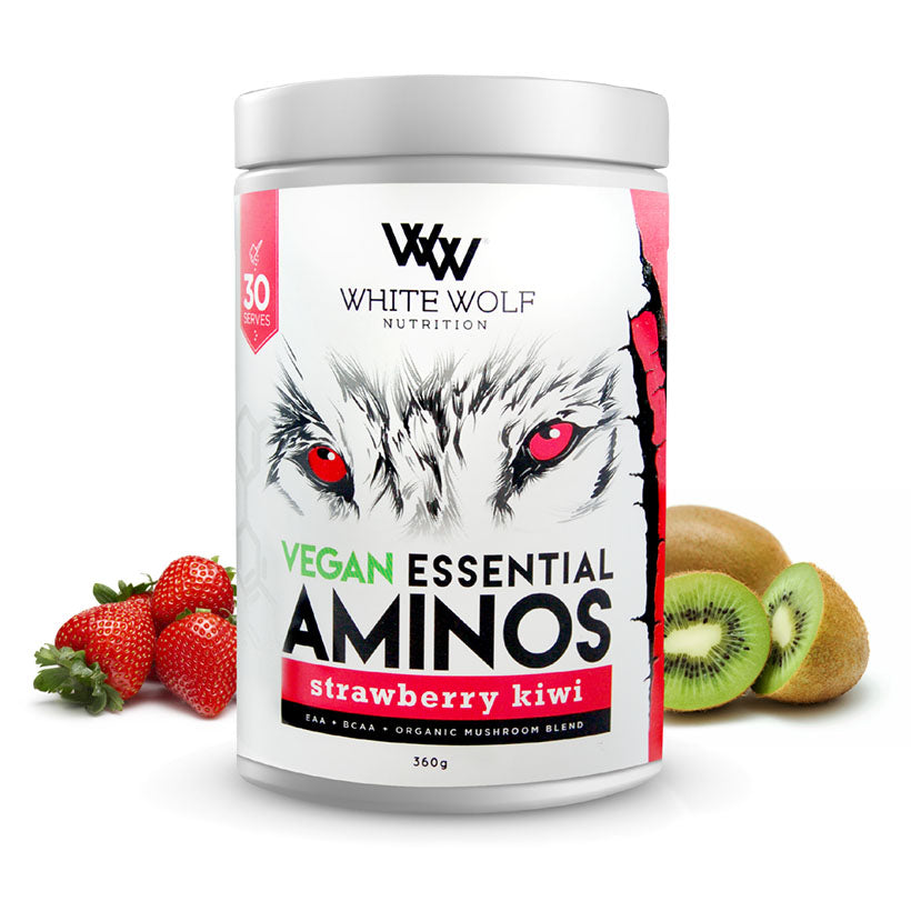White Wolf Vegan Essential Aminos 360g 30 serve Strawberry Kiwi
