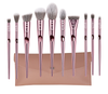 GLO Makeup Brush Set, Premium 10Pcs Rose Gold Synthetic Makeup Brushes With Makeup Purse