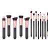 GLO Makeup Brush Set, 14pcs Premium Synthetic Hair, Rose Gold Foundation Powder Concealers And Eye Shadows Makeup Brushes