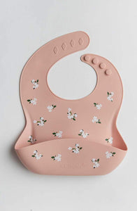 Silicone Bib Printed - White Flower