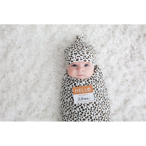 Hello World Blanket & Knotted Hat - Leopard