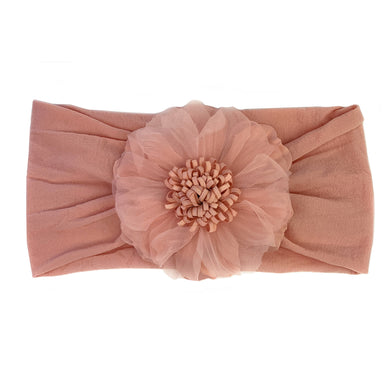 Nylon Headwrap with Flower - Dusty Rose