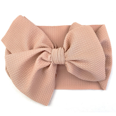 Lana Bow - Textured Headband with Giant Bow - Dusty Rose