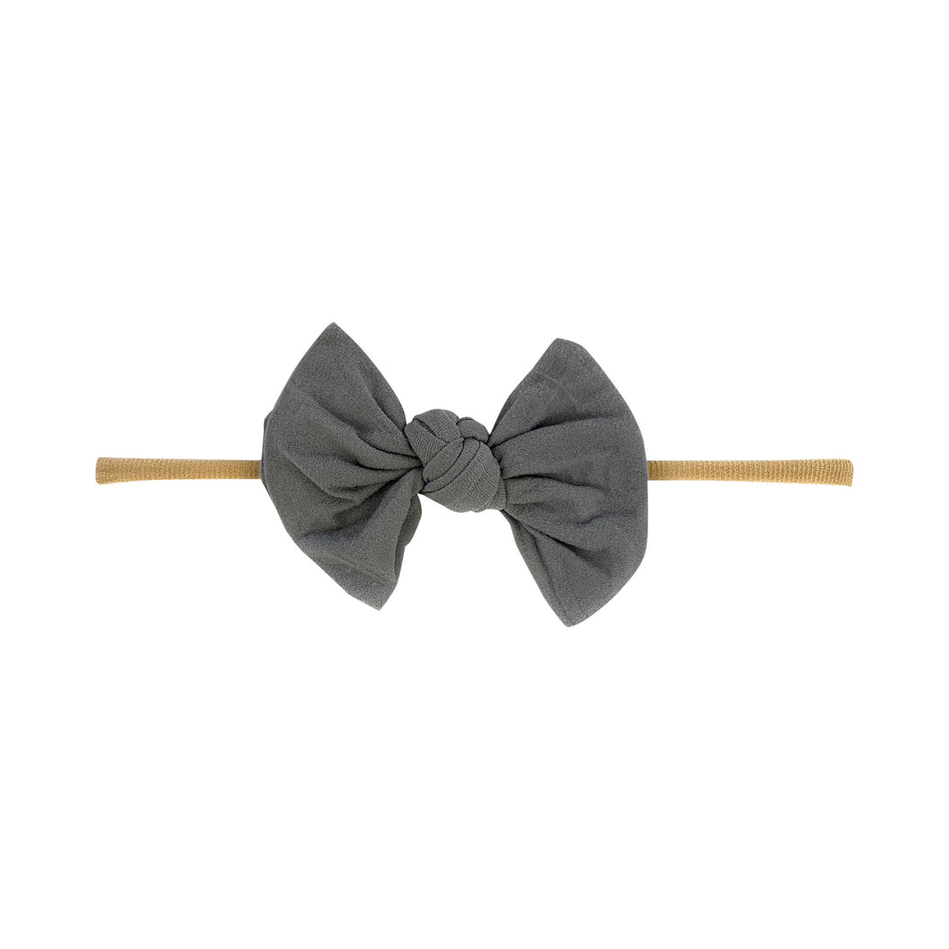 Knotted Bow - Skinny Nylon Headband - Grey