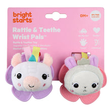 Load image into Gallery viewer, Rattle & Teethe Wrist Pals - Unicorn/Llama