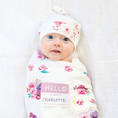 Hello World Blanket & Knotted Hat - Posies