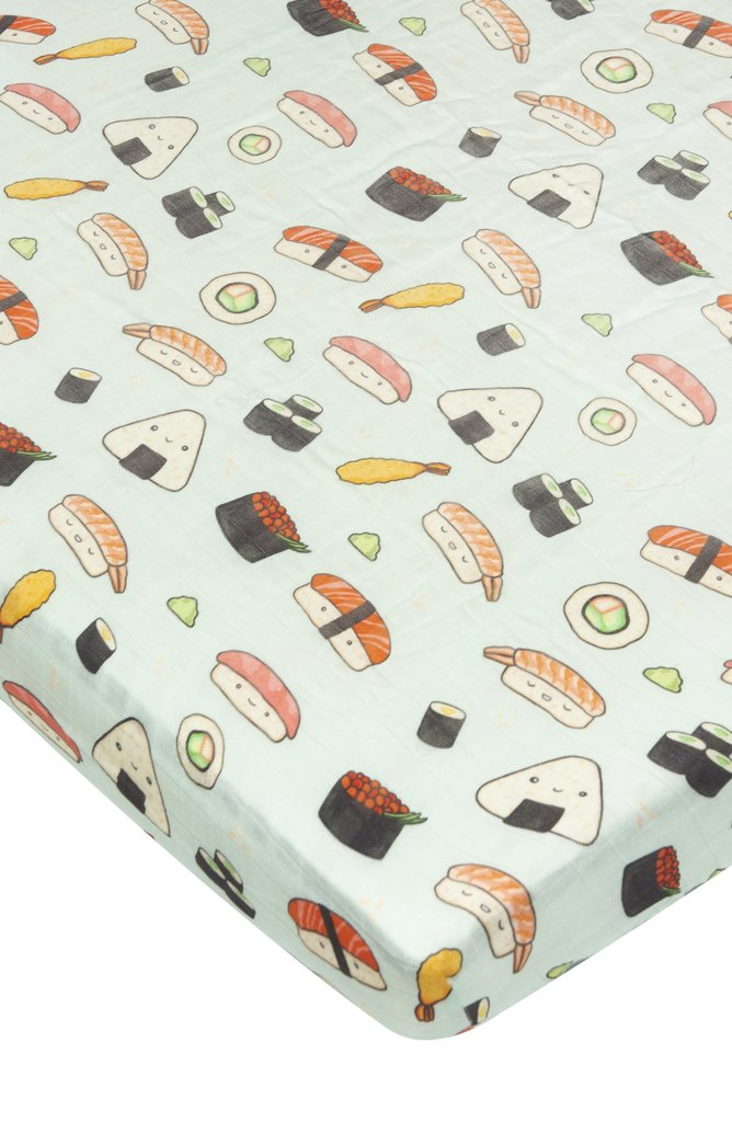 Fitted Muslin Crib Sheet - Sushi