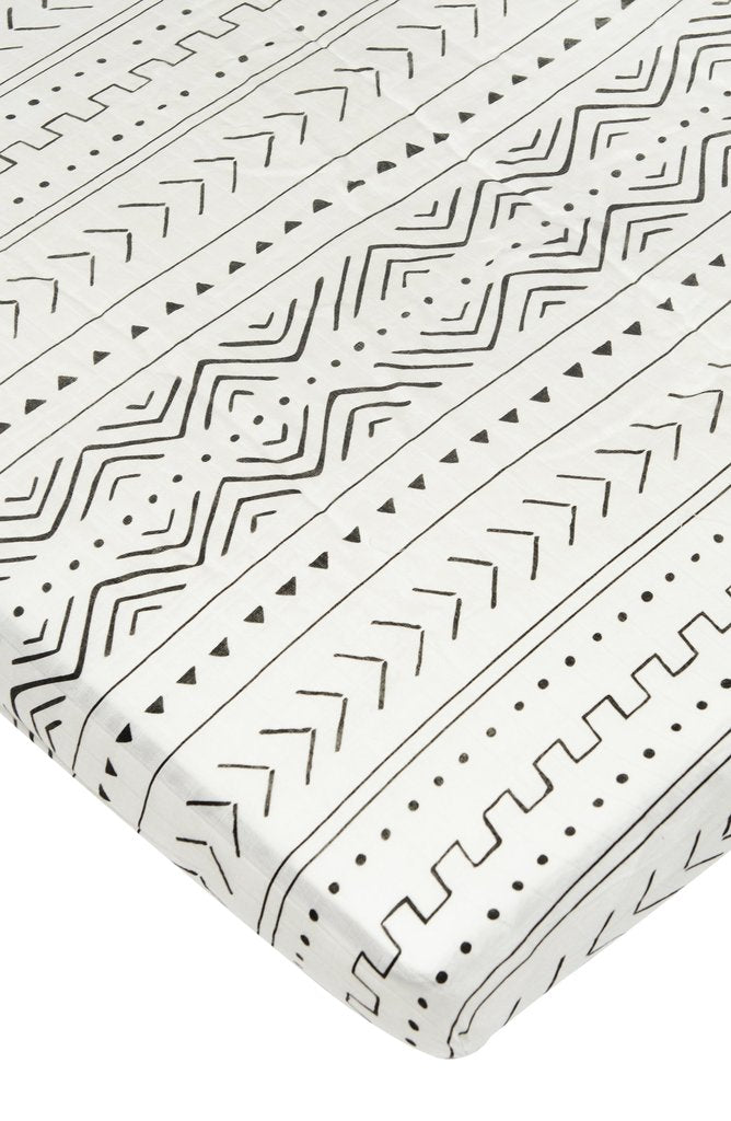 Fitted Muslin Crib Sheet - White Mudcloth