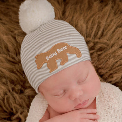 Striped Pom Baby Bear Beanie
