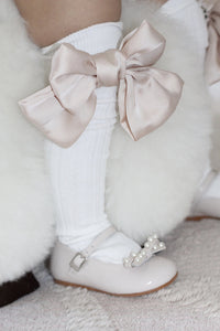 Abigail Satin Bow Socks - Champagne