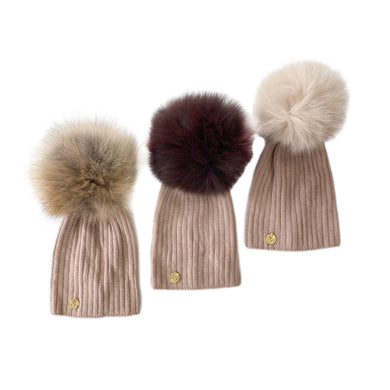 Misha Ribbed Angora Hat - Natural Pom