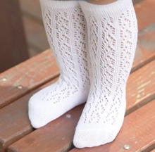 Load image into Gallery viewer, Crochet Knee Socks - White