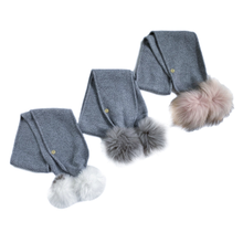 Load image into Gallery viewer, Honeycomb Grey Cashmere Pom Scarf