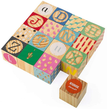 Load image into Gallery viewer, Kubix 16 Wood Alphabet Blocks