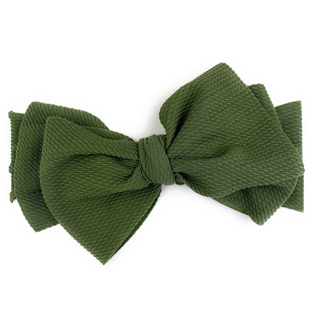Lana Bow -Textured Headband with Giant Bow - Green