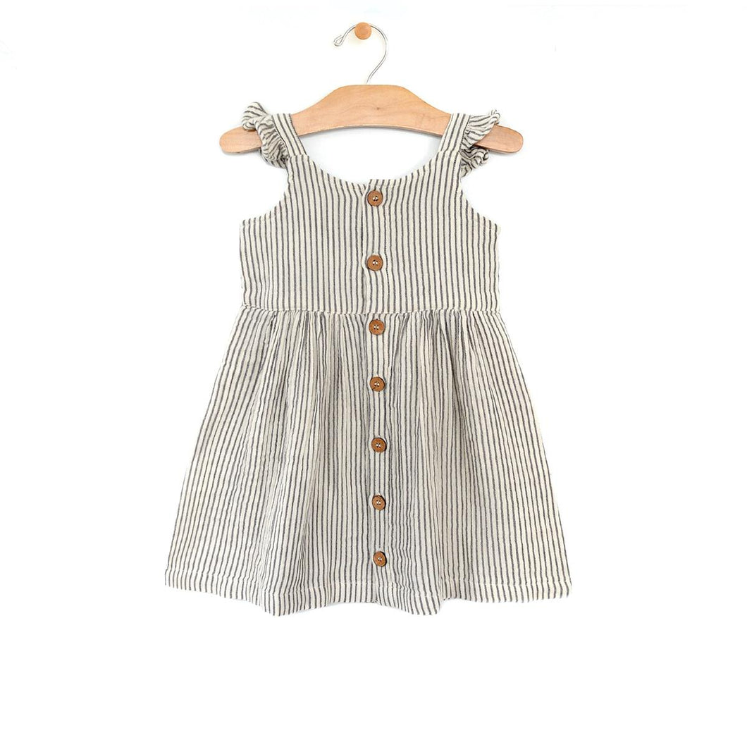 Woven Button Tank Dress - Stripe
