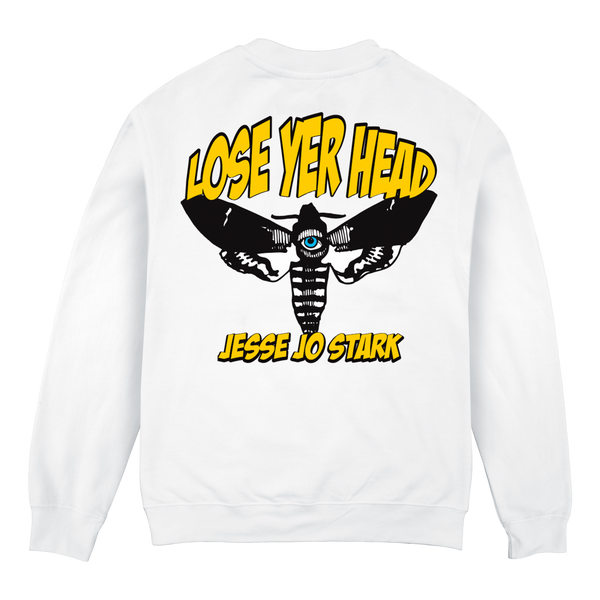 white lose yer head crewneck