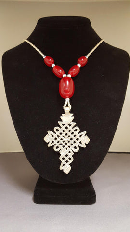 Ethiopian Jewelry ~ Necklace with Cross Pendant ~ Red Beads