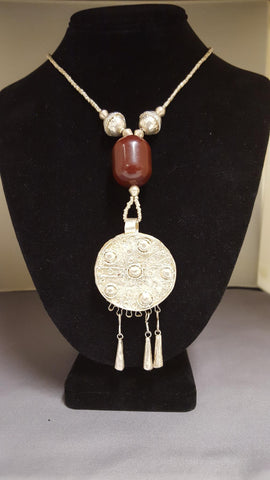 Ethiopian Jewelry - Necklace with Pendant and Brown Bead