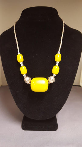 Ethiopian Jewelry - Necklace with Pendant ~ Yellow Beads