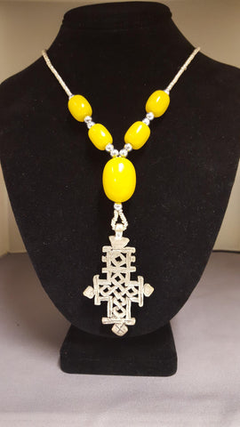 Ethiopian Jewelry Set - Necklace with Cross Pendant and Earrings - Yellow Beads