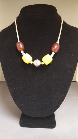 Ethiopian Jewelry -  Yellow and Brown Beads Necklace