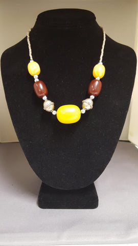 Ethiopian Jewelry - Necklace with Yellow and Brown Pendants