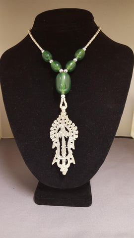 Ethiopian Jewelry - Necklace with Cross Pendant - Green Beads