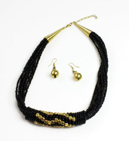 Beaded Barrel Necklace Set: Black