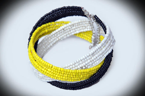 Black Yellow and White Beaded Bracelet