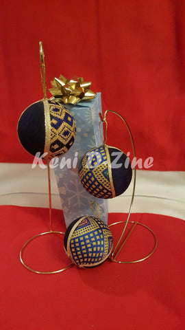 Handmade Ethiopian Inspired Christmas Ornaments - Blue_Mix Set
