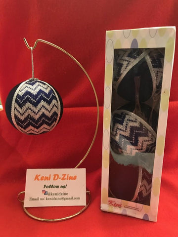 Handmade Ethiopian Inspired Christmas Ornaments - Dark Blue Set